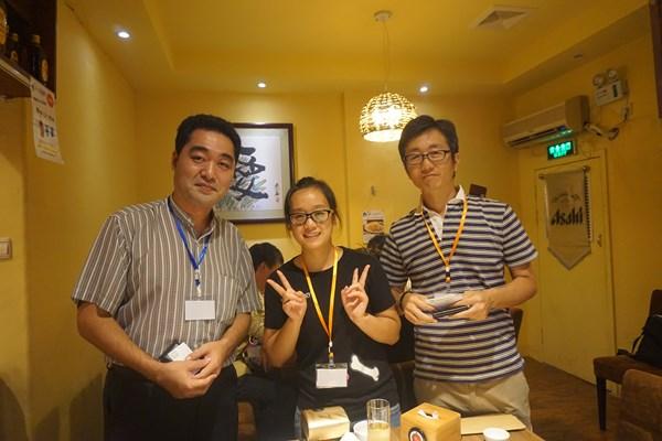 アメニティーグッズを作られている宮崎県の社長さんと。ぜひ、広島県のグッズもお願いしたいです。