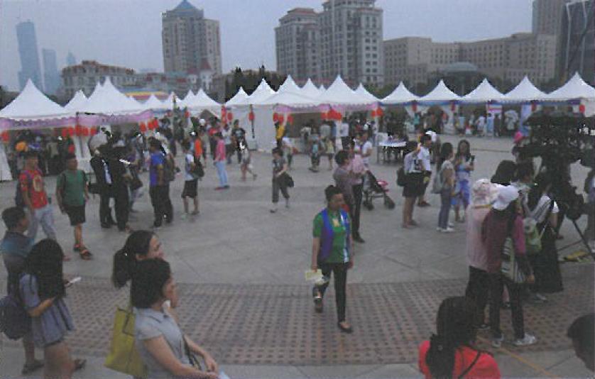会場は大連の中心的な野外公園オリンピック広場